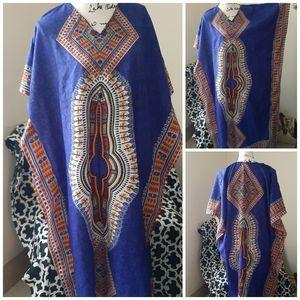 🍓VTG Blue Dashiki Tribal Print Mrs Roper One Size